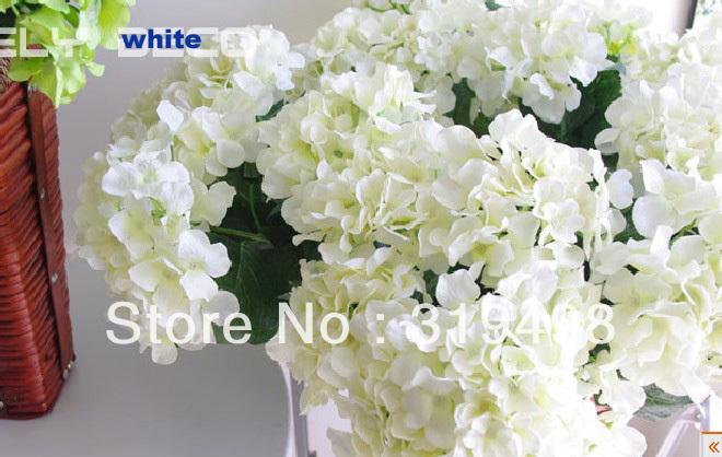 Free shipping(20 pcs/lot) White Single head Silk Artificial Hydrangea flower Scotland Hydrangea flower Wedding Bouquet Christmas(China (Mainland))