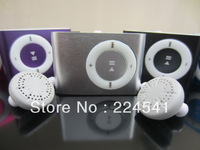 Cheap wholesale Fashion colorful Mini Clip mp3 player  with box hi-fi earphone and usb cable support micro SD/TF card