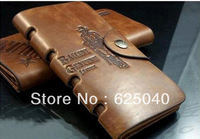 Free shipping 1pc fashion brown color Hunter print hollow out genuine leather Cross paragraph Money clips&wallet with Hasp