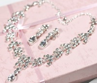 MIN.ORDER $15,luxurious shine rhinestones bride jewelry set,cute drop design