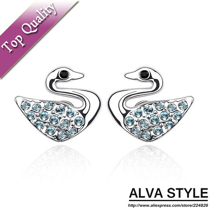 ALE0004 Hot Sale Stud Earrings Zircon For Women 2013 Ear Pin Crystals Rhinestone Swan Jewelry Free shipping Wholesale(China (Mainland))