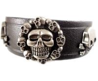 2013 trendy fashion handmade punk skull stud belt buckle vintage wide mens leather bracelets jewelry bangle