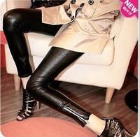 New Sexy Ladies Women Faux Leather  Punk  Zipper  Leggings Pants Trouser Matte Black Free shiping