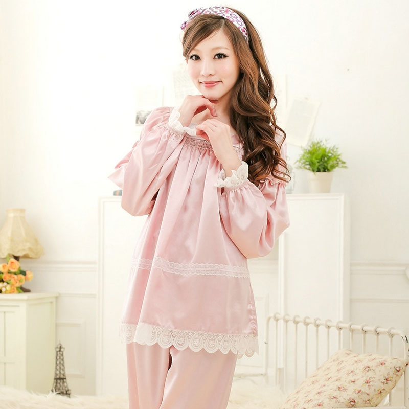 Sleepwear female summer long sleeve length pants spring and autumn lounge plus size lace decoration a680 twinset(China (Mainland))