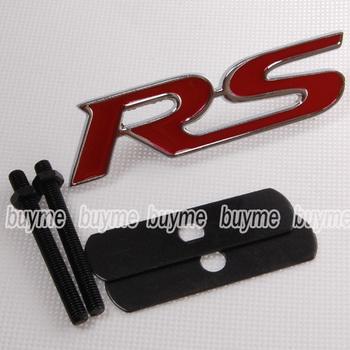 5pcs  Metal Red RS Grill Emblem Badge Hood for  TT Focus Vitz Yaris Fit JDM