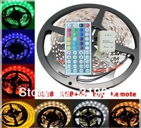 5M/lot flexible led strip light 3528 SMD LED Strips Lights 300 leds Non-watreproof RGB+44 key Remote controller