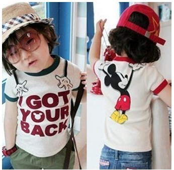 Free shipping! 2013 summer baby boy cotton t shirt fashion mickey design kids clothes for boys t shirts 5pcs/lot(China (Mainland))