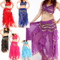 New Hand made New Sexy Folded Lace Coins Belly Dance Costume Set Bra Top + Belt+ Skirt # L034926