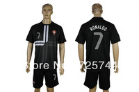 HOT!!soccer uniforms Cristiano Ronaldo 7 Portugal 2013 14 away black jersey and shorts football kits dri fit fabric