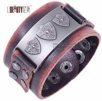 2013 trendy fashion handmade punk shield rivet belt buckle wide vintage unisex mens plain leather bracelets jewelry bangle
