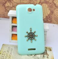 Mint green cell phone case for HTC One X adorned with  bronze rudder  DIY handmade [JCZL DIY Shop]