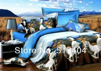 Discount and Popular!3d oil painting bedding sets,3d oil bedding with horses without filler,horse pattern queen size bedlinen
