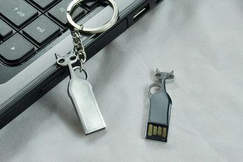 Wholesale Hot sale Fashion Art cat model metal  4-32GB USB Flash 2.0 Memory Drive  --Free shipping