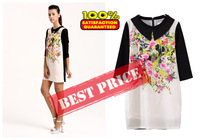 2013 Free shipping hot sale big round collar printed stitching 7 minutes of sleeve dress one piece dress.