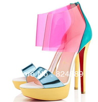 Dufoura metallic leather transparent pvc suede sandals 100mm red sole high heels