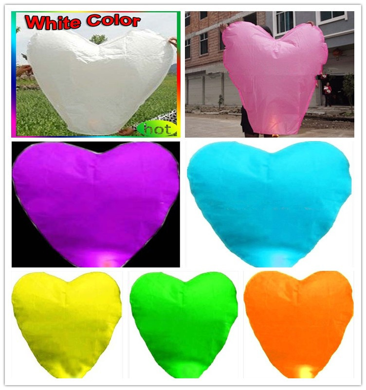 Free shipping 200PCS/lot different color Heart Shape Chinese Sky Lanterns Wishing(China (Mainland))