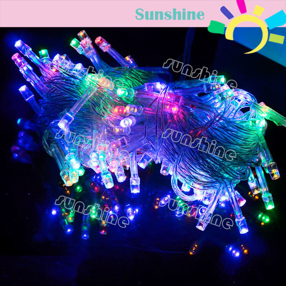 4pcs/Lot 10M100 LED Colorful Lights Decorative Christmas Party Festival Twinkle String Lamp Bulb 220V EU Wholesale&Retail TK0200(China (Mainland))
