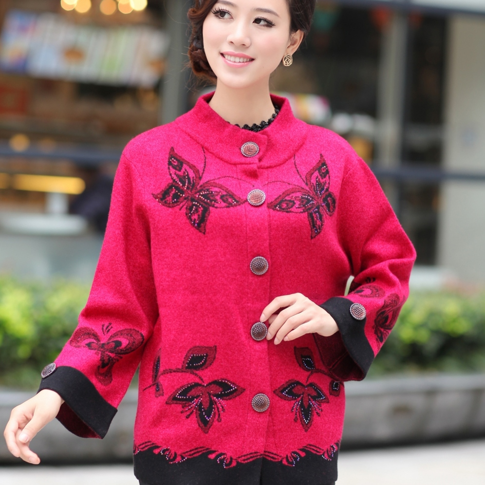 Heng YUAN XIANG autumn mother clothing sheep trophonema thickening cardigan outerwear quinquagenarian plus size button sweater(China (Mainland))