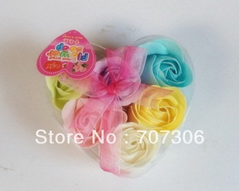 Sweet-Heart Shape 6 colours 6 Pieces/Pack Originality Wedding Gifts Birthday Present Cleaning Decoration  Rose Flower Soap