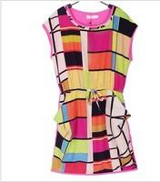 women's summer new fashion dress sleeveless geometric polka waist free shipping dresses minidress plaid dress europe style Brand