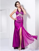 Lost in City Nights! Party Dress Prom Dress Sheath/Column V-neck Halter Asymmetrical Stretch Satin Evening Dress