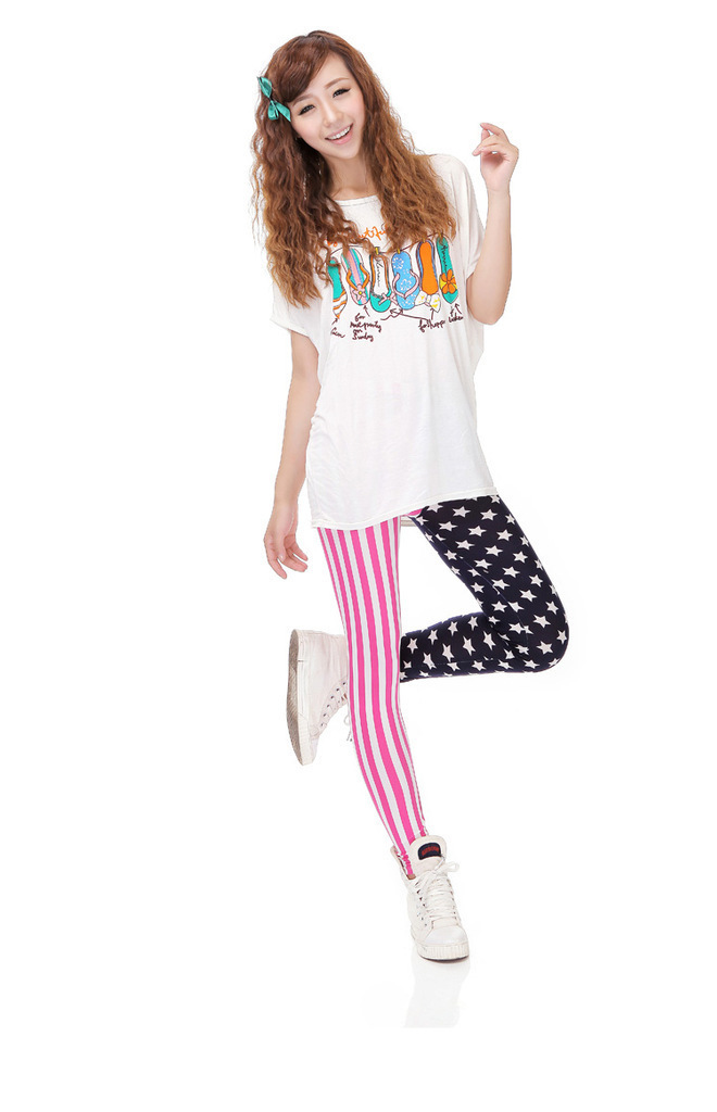 Womens Lady Art Design Sexy US flag Print Leggings Tights Pants Fashion Stars Free shiping(China (Mainland))