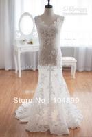 NEW Vintage Inspired Tulle Lace Wedding Dress Taffeta Bridal Gown Deep V Open Back Mermaid Dress