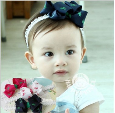 2013 New Baby Ribbon Bow Ribbon Knight,Children's Cotton Yarn Flower Head Flower Hair Accessories Hair Bands Ribbon FreeShipping(China (Mainland))
