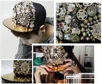 Hiphop hat adjustable flat along the cap punk rivet button hiphop hip-hop baseball cap