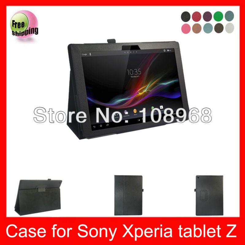 Auto Wake Sleep Function,High Quality PU Smart Cover Leather Case For Sony Xpeia Tablet Z 10.1'' Leather Case,Black color(China (Mainland))