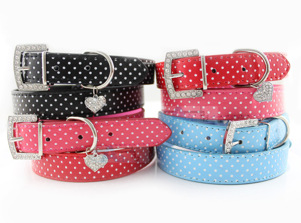 5pcs/lot 3 Colors Classical Polka Dot Leather Dog Cat Puppy Collar Heart Diamante Charm(China (Mainland))