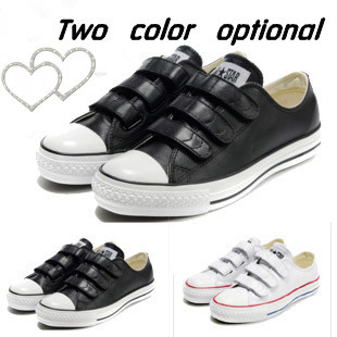 Free shipping 2013 Velcro cowhide leather shoes black white men's shoes / women's Conversion canvas shoes, leisure sports shoes(China (Mainland))