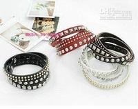 Min.order is $10(mix order) Free shipping! 2013 Auger Cortex Multilayer Three Leather Bracelets Fash