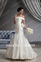 NEW 2013 Custom Made Vintage Sexy Off-Shoulder Taffeta Trumpet Sweep Train Summer Fall Wedding Dresses