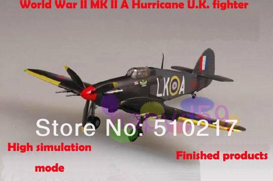 5pcs free ship 1/72 finished world war II piston propeller fighter model military aircraft model MK II Hurricane U.K. fighter(China (Mainland))