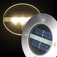 Free Shipping Solar Stainless Steel 3 LED Buried light Ground Landscape Garden Light Warm White