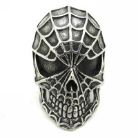 Factory Price Popular Design Mens Cool Fashion Charm Spider Man Skull Ring 316L Stainless Steel Jewelry Gift Quality High