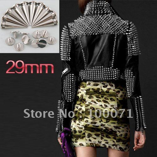 50Pcs/lot 29mm Metal Cone Screwback Studs and Spikes Punk Bracelet Leather Bags Cloth Shoe [12269|01|05](China (Mainland))