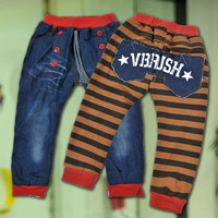 Free shipping 2013 spring models of child jeans pants thick cotton stitching baby boy pants boy pants Children under 2 years