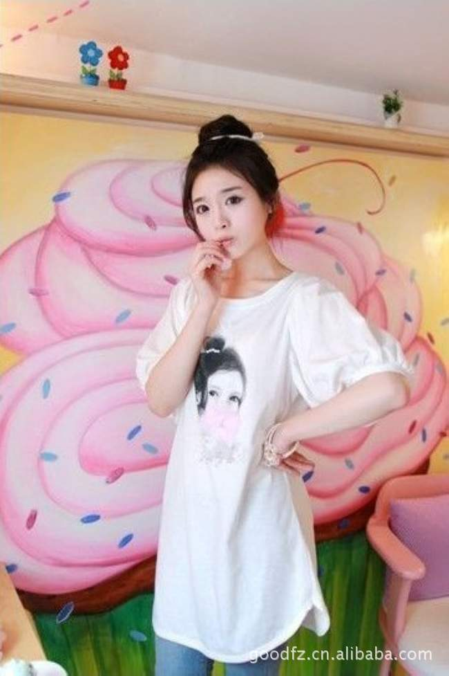 Korean fashion cotton short-sleeved T-shirt for women factory direct wholesale production and sales of short-sleeved T-shirt(China (Mainland))