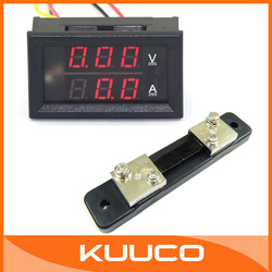 DC 6V/12V/24V 2in1 Voltage Current Monitor Meter DC 0-100V 50A Red LED 2in1 Volt Amp Meter With Shunt Resistance #100043(China (Mainland))
