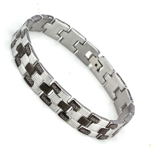 Silveren wholesale and detail free shipping gift silver tone bangle 210mm 304 Stainless Steel Men's Bracelet #BA100172(China (Mainland))