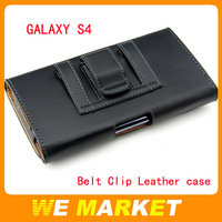 Black belt clip leather flip cover pouch For Samsung Galaxy S4 S3 I9500 10pcs/lot Free shipping