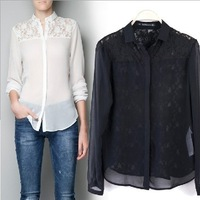 2013 New Arrival Fashion Brand Women's Summer Lace  Shirts Long Sleeve Slim Black and White Shirts Chiffon Blouse