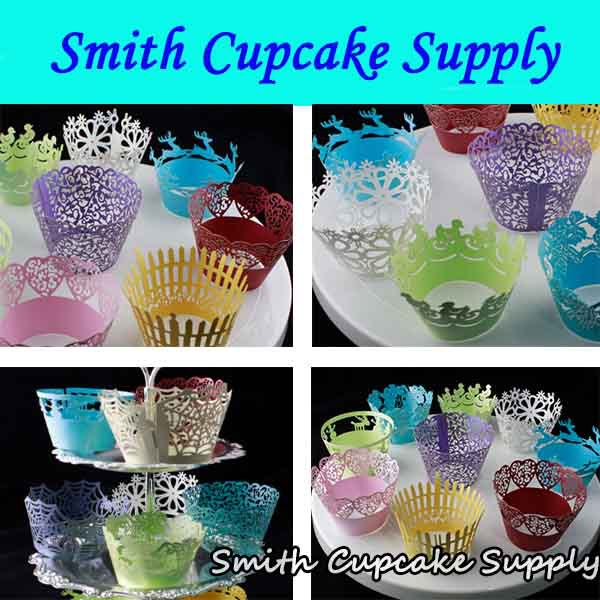 Random 200 packs 2400 pcs Wedding Catering Laser Cut Cupcake Wrappers(China (Mainland))