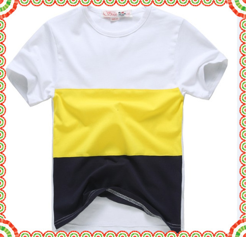 Free shipping brand Source vine fashion style white yellow and black color yarn dyed children polo shirt(China (Mainland))