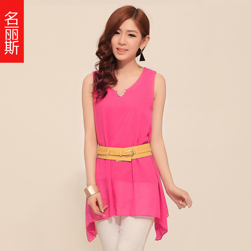 New arrival 2013 slim small V-neck sparkling diamond candy color sleeveless chiffon shirt vest top female t-shirt basic shirt(China (Mainland))