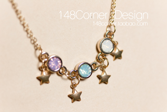 Handmade sweet five-pointed star rhinestone vintage short necklace anklets bracelet set free shipping(China (Mainland))
