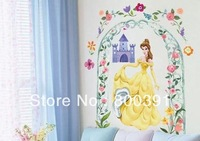 1PCS Free shipping EMILY2009 Wall Sticker New princess wall stickers, flower circle kids wall decals,2 generation paper sticker