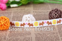 Free Shipping 1.7cm  Woven Jacquard Cotton Embroidered Ribbon 10 yards XG1 cute dog